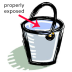 Water bucket illustration showing proper exposure